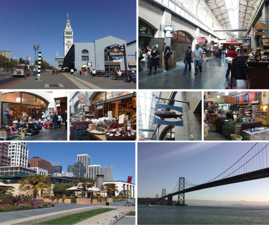 Ferry Building outside and in, Embarcadero and Bay Bridge